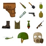 Army and armament cartoon icons in set collection for design. Weapons and equipment vector symbol stock web illustration. Army and armament cartoon icons in set Royalty Free Stock Images