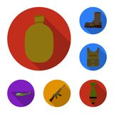 Army and armament flat icons in set collection for design. Weapons and equipment vector symbol stock web illustration. Army and armament flat icons in set Royalty Free Stock Image