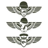 Army badges-1. Abstract military badge with wings. Illustration on white background Royalty Free Stock Photo
