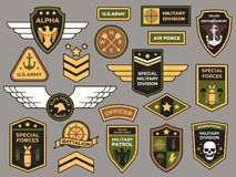 Army badges. Military patch, air force captain sign and paratrooper insignia badge vector patches set stock illustration