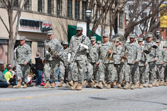 Army Band Marches In St. Patrick's Parade Royalty Free Stock Images