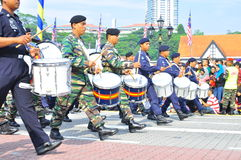 Army band marching  with fife and drum. 16th September 2011 , Kuala Lumpur, Malaysia : Commandos marched through at the Merdeka Square during the Malaysia Stock Photos