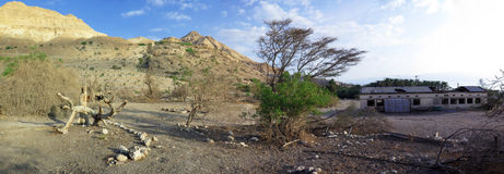 Army Barrack Ruin in En Gedi, Israel. Panorama of Army Barrack Ruin in En Gedi, dating to Israel's war of Independence (1947-1949). It was later used as a field Royalty Free Stock Images