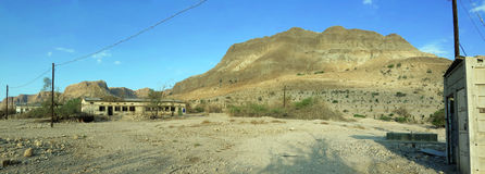 Army Barrack Ruin in En Gedi, Israel. Panorama of Army Barrack Ruin in En Gedi, dating to Israel's war of Independence (1947-1949). It was later used as a field Stock Photos