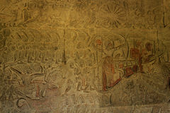 The Army Bas-Reliefs in Angkor Wat Stock Photo