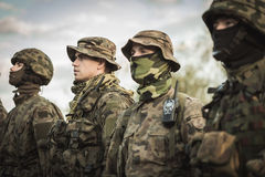 Army basic training. Group of soldiers during army basic training Stock Images