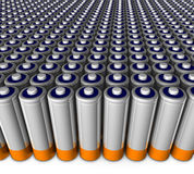 Army of batteries Stock Photo