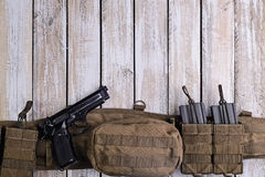 Army battle belt,gun,ammo.Top view Stock Images