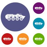 Army battle tank icons set Stock Photography