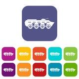 Army battle tank icons set Royalty Free Stock Image