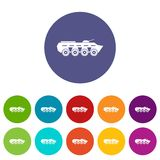 Army battle tank set icons Stock Photography