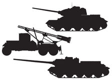Army Battle technique vector silhouettes. World War II Battle technique vector silhouettes. T-34 Tank, Katyusha multiple rocket launcher and SU-100 tank royalty free illustration