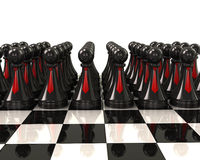 Army of black pawns with red ties Stock Images