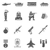 Army Black White Icons Set Royalty Free Stock Image