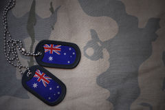Army blank, dog tag with flag of australia on the khaki texture background. Military concept Royalty Free Stock Images