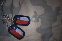 Army blank, dog tag with flag of chile on the khaki texture background. Stock Photography
