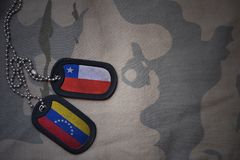 Army blank, dog tag with flag of chile and venezuela on the khaki texture background. Military concept stock image