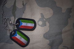 Army blank, dog tag with flag of equatorial guinea on the khaki texture background. Stock Image