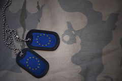 Army blank, dog tag with flag of european union on the khaki texture background. Military concept Stock Photo