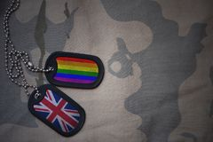 Army blank, dog tag with flag of great britain and gay rainbow flag on the khaki texture background. Stock Photos