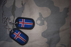 Army blank, dog tag with flag of iceland on the khaki texture background. Royalty Free Stock Photo