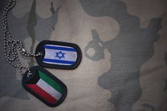 Army blank, dog tag with flag of israel and kuwait on the khaki texture background. Military concept Stock Photo