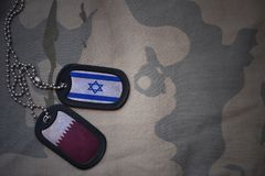 Army blank, dog tag with flag of israel and qatar on the khaki texture background. Royalty Free Stock Photos