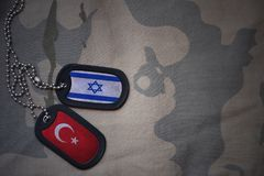 Army blank, dog tag with flag of israel and turkey on the khaki texture background. Military concept royalty free stock photo