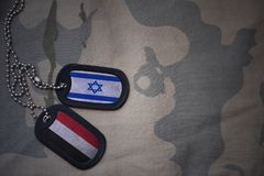 Army blank, dog tag with flag of israel and yemen on the khaki texture background. Royalty Free Stock Photography