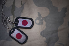 Army blank, dog tag with flag of japan on the khaki texture background. royalty free stock photo