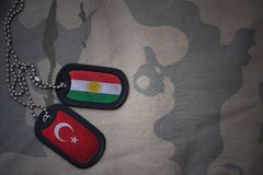 Army blank, dog tag with flag of kurdistan and turkey on the khaki texture background. Military concept royalty free stock photos