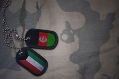 Army blank, dog tag with flag of kuwait and afghanistan on the khaki texture background. Military concept Royalty Free Stock Images