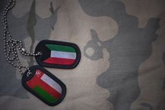 Army blank, dog tag with flag of kuwait and oman on the khaki texture background. Military concept Stock Photos