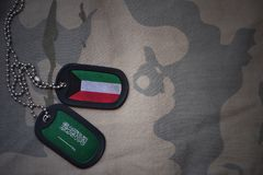 Army blank, dog tag with flag of kuwait and saudi arabia on the khaki texture background. Military concept Royalty Free Stock Photos