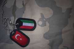 Army blank, dog tag with flag of kuwait and turkey on the khaki texture background. Military concept Stock Images