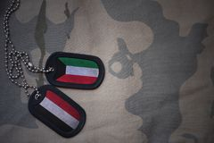 Army blank, dog tag with flag of kuwait and yemen on the khaki texture background. Military concept Royalty Free Stock Photography
