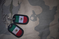 Army blank, dog tag with flag of mexico on the khaki texture background. Military concept royalty free stock photos