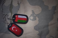 Army blank, dog tag with flag of oman and turkey. On the khaki texture background. military concept stock photo
