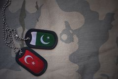 Army blank, dog tag with flag of pakistan and turkey. On the khaki texture background. military concept royalty free stock photos