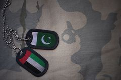 Army blank, dog tag with flag of pakistan and united arab emirates on the khaki texture background. Military concept Royalty Free Stock Image
