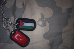 Army blank, dog tag with flag of palestine and turkey on the khaki texture background. Military concept stock photography