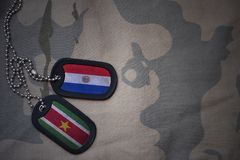 Army blank, dog tag with flag of paraguay and suriname on the khaki texture background. Military concept Stock Photos