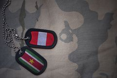 Army blank, dog tag with flag of peru and suriname on the khaki texture background. Military concept Stock Images