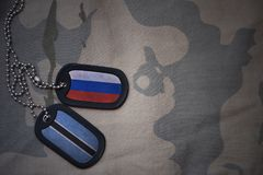 Army blank, dog tag with flag of russia and botswana on the khaki texture background. Stock Photos