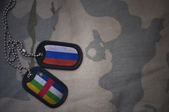Army blank, dog tag with flag of russia and central african republic on the khaki texture background. Military concept royalty free stock photos