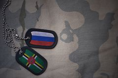 Army blank, dog tag with flag of russia and dominica on the khaki texture background. Military concept royalty free stock images