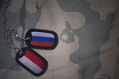 army blank, dog tag with flag of russia and indonesia on the khaki texture background. royalty free stock image