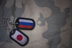 army blank, dog tag with flag of russia and japan on the khaki texture background. royalty free stock images