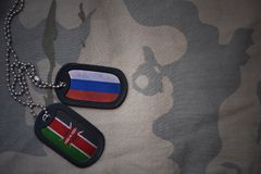 Army blank, dog tag with flag of russia and kenya on the khaki texture background. Military concept stock photos