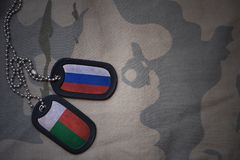 Army blank, dog tag with flag of russia and madagascar on the khaki texture background. Military concept Royalty Free Stock Images